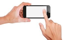 Mobile phone snapping a picture isolated on white Royalty Free Stock Image