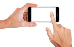 Mobile phone snapping a picture isolated on white Royalty Free Stock Images