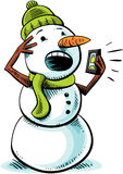 Mobile Phone Snowman Stock Photography