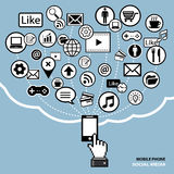 Mobile phone social media concept Royalty Free Stock Image