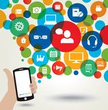 Mobile phone and social media icons. Stock Image