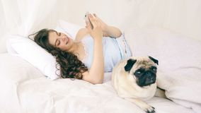 Mobile phone social media using in the bed. Woman with funny pug dog. Video footage stock footage