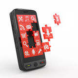 Mobile phone software. Royalty Free Stock Photos