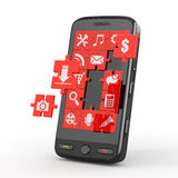 Mobile phone software. Screen from puzzle. Royalty Free Stock Image