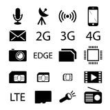 Mobile phone specification icon collection. Mobile phone specification black icons. Vector collection Stock Photography