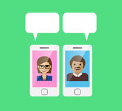 Mobile phone and speech bubble with chatting people. Vector EPSW 10 Stock Photo