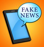 Mobile Phone Speech Bubble Fake News 3d Illustration. Mobile Phone Speech Bubble With Fake News 3d Illustration Stock Photos