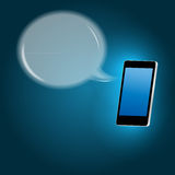 Mobile phone with speech bubble vector. Illustration. This is file of EPS10 format Stock Photos