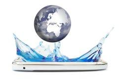 Mobile phone splash Stock Photo
