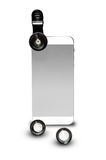 Mobile Phone Standing Vertically with Clip on Photo Camera  Lens Royalty Free Stock Image