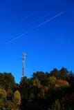 Mobile phone station aircraft way nature. Mobile phone station aircraft way bluesky relation connection bridgebuilding communication telco LCP Royalty Free Stock Photography