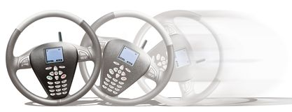 Mobile Phone Steering Wheel Royalty Free Stock Photography