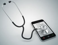 Mobile phone and stethoscope Stock Images