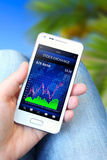 Mobile phone with stock chart holded by hand Royalty Free Stock Photos