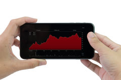 Mobile phone with stock chart. Man holding mobile phone with stock chart screen Stock Images
