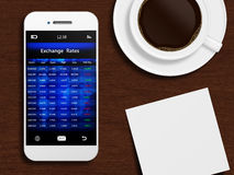 Mobile phone with stock exchange screen, mug of coffee stock illustration