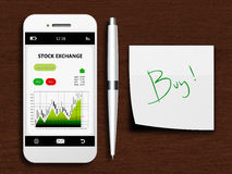Mobile phone with stock exchange screen, pen and buy note Stock Photos