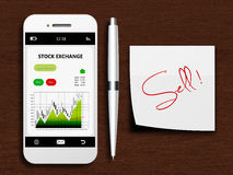 Mobile phone with stock exchange screen, pen and sell note Royalty Free Stock Images