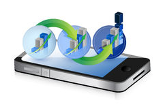 Mobile phone with a success step graph Royalty Free Stock Photos