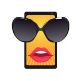 Mobile phone with sun glasses and female lips Stock Images