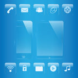 Mobile phone and tablet icon glass set. Mobile phone and tablet icon and interface glass set Stock Photo