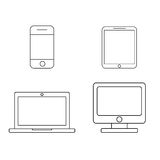 Mobile phone, tablet, laptop and desktop computer outline icons Royalty Free Stock Images