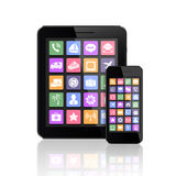 Mobile phone and tablet PC with apps icons Stock Photo