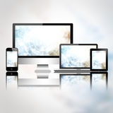 Mobile phone, tablet pc, laptop and computer Stock Images