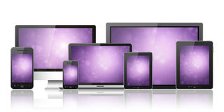 Mobile phone, tablet pc, laptop and computer Stock Photos