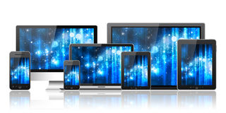 Mobile phone, tablet pc, laptop and computer Stock Photography