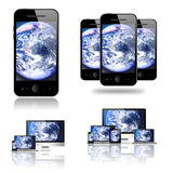 Mobile phone, tablet pc, laptop and computer Stock Image