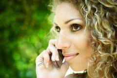 Mobile phone talking Stock Image
