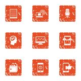 Mobile phone technology icons set, grunge style. Mobile phone technology icons set. Grunge set of 9 mobile phone technology vector icons for web isolated on Stock Photography