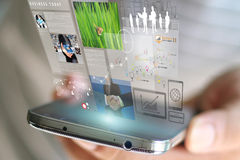 Mobile Phone Technology Virtual Screen. People working on virtual screen mobile phone Stock Photo