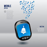 Mobile phone template with bell and music notes Royalty Free Stock Image