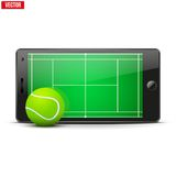 Mobile phone with tennis ball and field on the Royalty Free Stock Photos