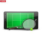 Mobile phone with tennis ball, racket and field on Royalty Free Stock Photography