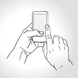 Mobile phone touch gestures -- touch the screen Stock Photography