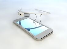 Mobile phone touch technology, interactive glasses Royalty Free Stock Photo