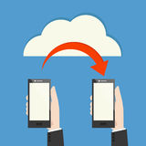 Mobile phone transferring data. From cloud Royalty Free Stock Images