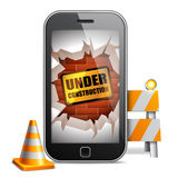 Mobile Phone Under Construction Stock Photography