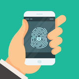 Mobile phone unlocked with fingerprint button - authorization Stock Photography