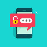Mobile phone unlocked notification button and password field vector, concept of smartphone security. Personal access, user authorization, login, protection Stock Photos