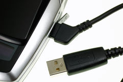 Mobile phone usb plug Stock Photography