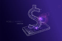 Mobile phone with USD currency symbol Stock Image