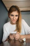 mobile phone using woman young Στοκ Εικόνες