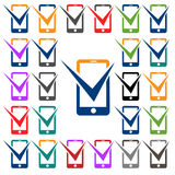 Mobile Phone Vector Icon-green-blue-red Royalty Free Stock Images