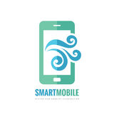 Mobile phone vector logo template concept illustration. Smartphone creative sign. Cellphone symbol. Touch pad technology. Stock Photo