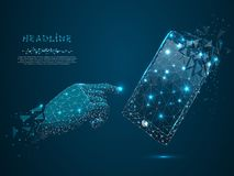 Mobile phone. Vector polygonal wireframe mobile phone man hand pointing in it. distracting shapes. Mobile phone. Vector polygonal wireframe mobile phone with a stock illustration