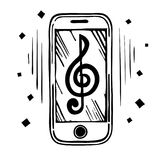 Mobile phone sketch. Mobile phone vector sketch with musical notes, treble clef on the screen. Hand drawing illustration stock illustration